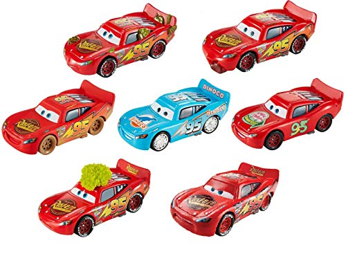 (Cars 3 Collection of 7 Diecast Lightning McQueen Bling Bling Blue Dinoco Dinosaur Logo, Determined, Cactus, Tongue, Dirt Track, Smelll Swell,Tumbleweed Disney Pixar Die cast Set 1:55)