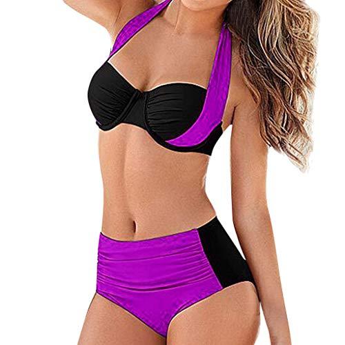 NANTE Bikini Two Piece Swimwear Women's High Waist Padded Push-up Swimsuit Set Bathing Suit Swimsuits Beachwear (XL, Purple) ()