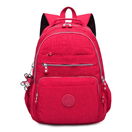 Foino Laptop Daypack Casual Backpack Women Day Pack School Bookbags Fashion Bag Weekender Back Pack for Travel Lightweight Red 3