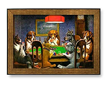 Framed Art Prints - A Friend in Need (Dogs Playing Poker) by C.M. Coolidge - Famous Painting Wall Decor - 24  x 36  - Bronze and Black Frame