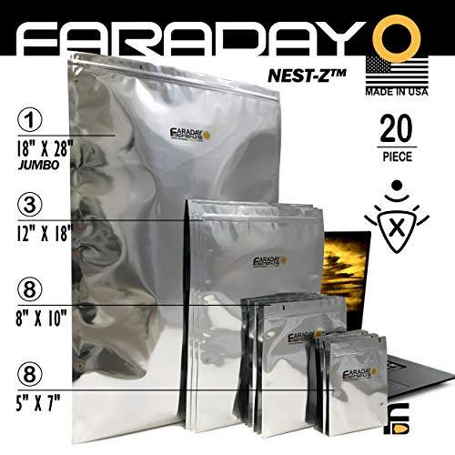 Faraday Cage Military Grade Uber Thick XXXL EMP Solar Flare Bags 20pc 2-Metal Layer, Fully-SPECCED, Heavy Duty Electro-Shielding Kit XXX-Large Laptop Notebook iPad Survivalists Preppers (Nuclear Laptop Bag)