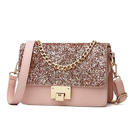 0dc6b5a57125 Cujubag Women Handbag Sequins Luxury Women Bags Pink 22x15x9cm