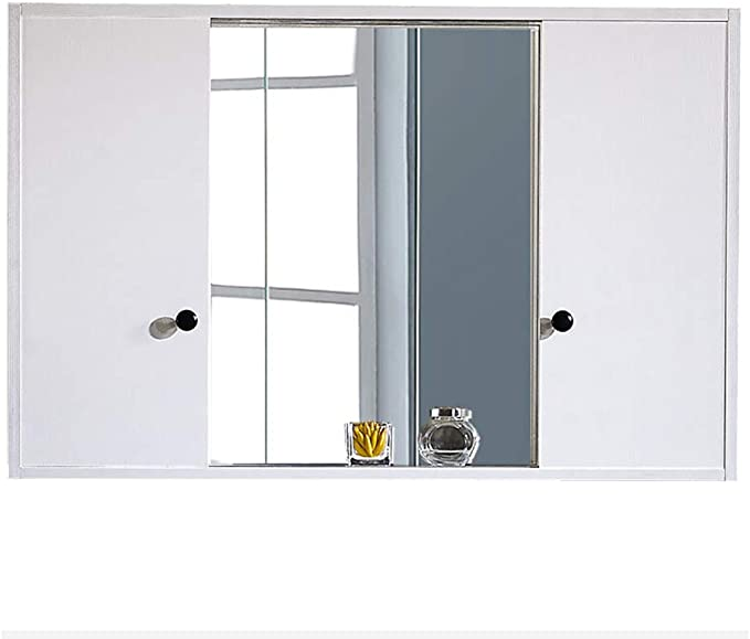 Gabinete de Espejo con Puerta corredera para baño, gabinete de Pared para baño, Organizador de Almacenamiento de Cocina multipropósito, Mueble de baño con Espejo, Blanco: Amazon.es: Hogar