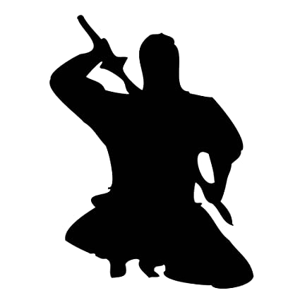 Auto Vynamics - NINJA-CHAR09-5-GBLA - Gloss Black Vinyl Ninja Warrior Silhouette Decal - Crouched / Crouching 05 Design - 3.75-by-5-inches - (1) Piece ...