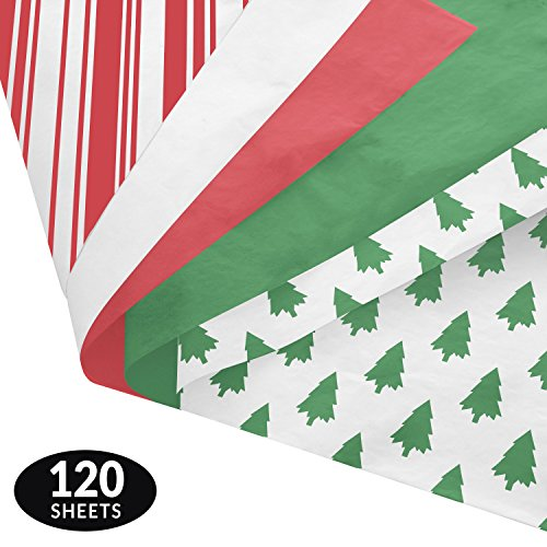 Classic Gift Wrapping Tissue Paper Set - 120 Sheets - Patterned and Solid Color by Note Card Cafe