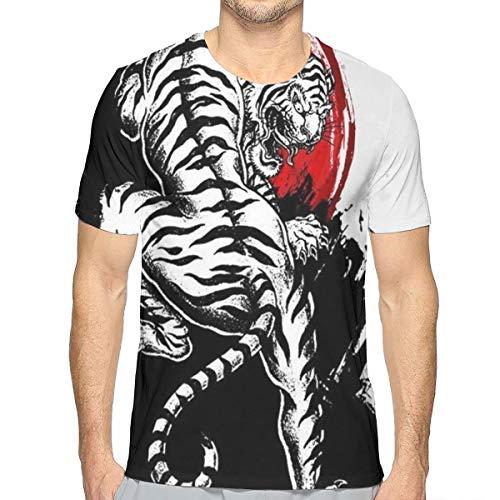 Men's 3D Printed Japanese Tiger Shirt, Short Sleeve Crewneck Henley Shirt Casual Soft Athletic Regular Fit Workwear for Game Sport Tennis, Fast Dry/Sweatproof -