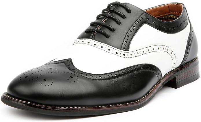 Terri Aldo Arthur MFA139001D Men's Wingtip Two Tone Oxford Black and White Spectator Dress Shoes