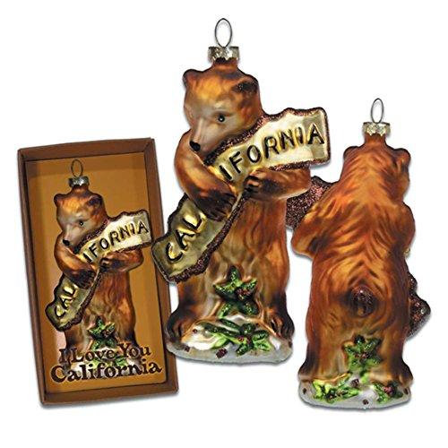 SF Mercantile California Bear Hug Glass Ornament ()
