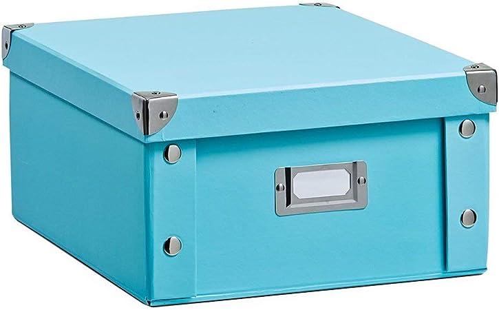 Zeller 17862 Caja de almacenaje de cartón Azul (Aqua) 31 x 26 x 14 cm: Amazon.es: Hogar