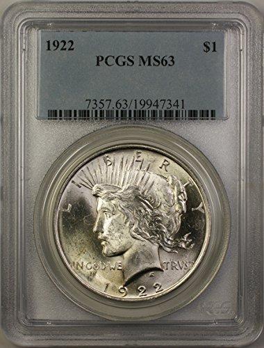 1922 Peace Silver Dollar Coin (ABR11-A) $1 MS-63 PCGS