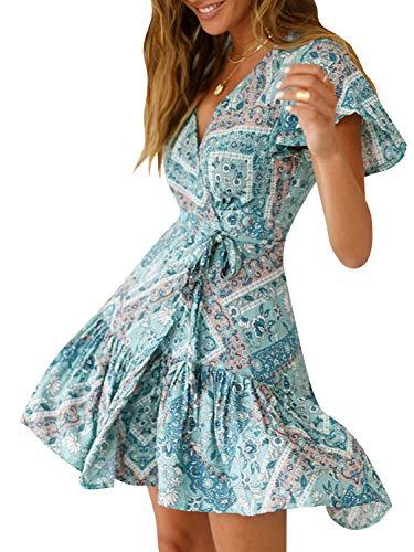 51c262894e822 Miessial Women's Floral Print V Neck Mini Dress Split Beach Flowy Boho  Short Dresses
