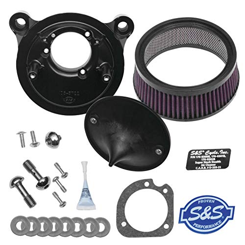 S&S Cycle Stealth Air Cleaner Kit Compatible for Harley-Davidson FLH 01-07