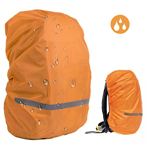 EDOBIL Rainproof Cover Waterproof Backpack Rain Cover With Reflective Strip for Hiking Camping Traveling Outdoor Activities (Orange, Medium)