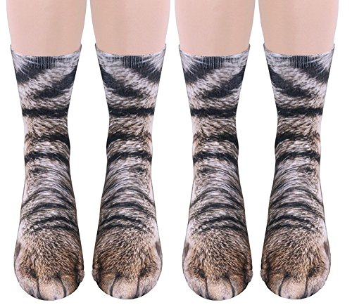 2Pairs 3D Socks Unisex Adult Big Kids Animal Paw Crew Socks - Sublimated Print (2Pairs - Horses Loving Socks
