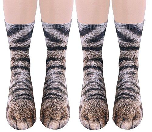 2Pairs 3D Socks Unisex Adult Big Kids Animal Paw Crew Socks - Sublimated Print (2Pairs Cat)