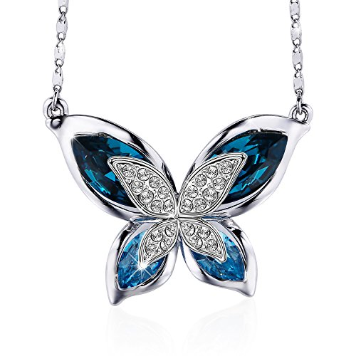 (S SIVERY Butterfly' Women Pendant Necklace with Blue Swarovski Crystals, Jewelry for Mom Gifts for Mom)