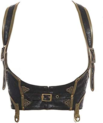 Fantasmogoria Military Gothic Nu-Goth Steampunk Fashion Mildred Black Faux Leather Harness