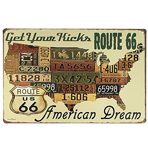 UNIQUELOVER USA Route 66 Get Your Kicks American Dream Retro Vintage Tin Sign 12