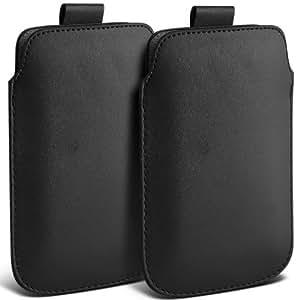 Nokia Lumia 700 premium protección PU ficha de extracción Slip Cord En cubierta de la bolsa del bolsillo de la funda Negro (Twin Pack) por Spyrox