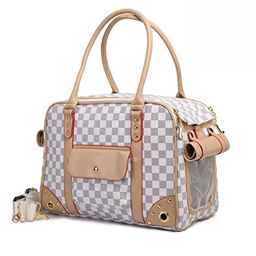 Dog Carrier Tote Pet (BETOP Pet Carrier Tote Around Town Pet Carrier Portable Dog Handbag Dog Purse for Outdoor Travel Walking Hiking, White, 15.75''11.81''7.87'')