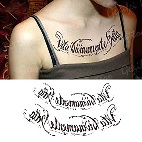 Oottati Tatuajes Temporales Muslo Brazo Curlicue Inglés letras (2 ...