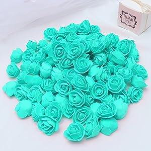 KODORIA 100pcs Artificial Foam Rose Head Artificial Rose Flower for DIY Bouquets Wedding Party Home Decoration - Tiffany Blue 5