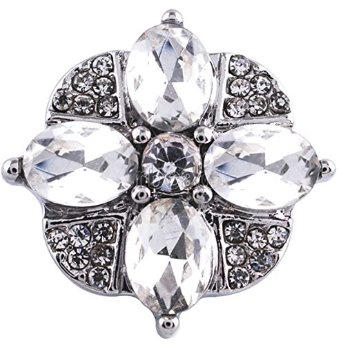 Rockin Angels White Clear Rhinestone Flower 20mm Snap Charm Ginger Snaps Jewelry (White Rhinestone Snap)