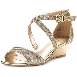 DREAM PAIRS JONES New Women Fashion Wear Summer Crossover Thong Design Low Wedge Dress Pumps Sandals GOLD SIZE 11