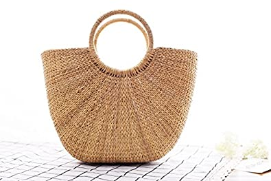 Natural Chic Hand-woven Round Handle Ring Straw Tote Retro Large ...