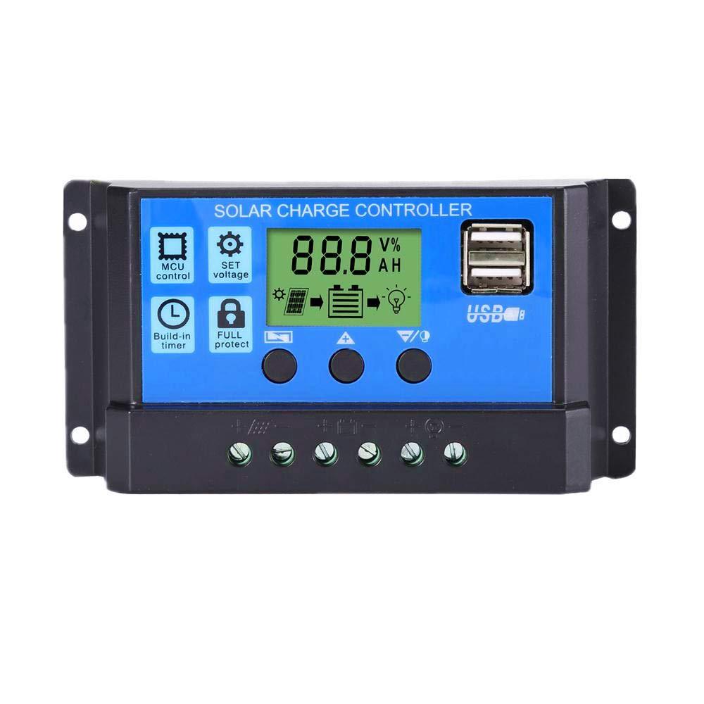 Thlevel 30A Controlador de Carga Solar 12V/24V Panel Solar Inteligente Controlador de Carga con Pantalla LCD y Doble Puerto USB para Panel Solar Lámpara Batería y Iluminación LED