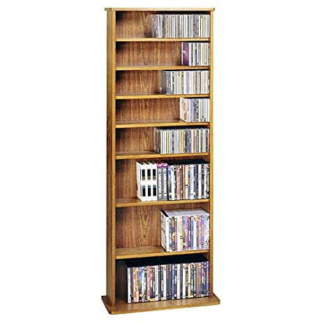 Leslie Dame CDV 500CHY High Capacity Oak Veneer Multimedia Storage Rack,  Cherry