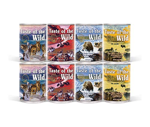 Taste of the Wild Canned Dog Food - 8 Pack (2 Each of 4 Flavors 13.2 oz Cans) 1 Lid and 2 Dog Toys