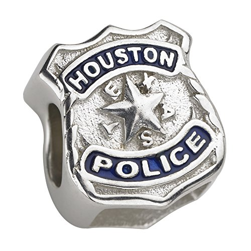 Houston Police Charm - Sterling Silver - Fits Pandora Bracelet (Silver Enamel Shield Charm)