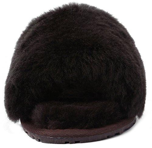 U-lite Dames Winter Warme Knusse Shearling Platte Slipper, Warme Wollen Pantoffels Voor Dameschocolade