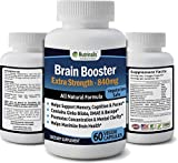 Brain Booster Helps Promote Sharper Memory, Focus & Clarity Extra Strength Formula With Ginko Biloba, Bacopa, Vinpocetine, DMAE & More 30 DAY SUPPLY 60 Vegetarian Capsules
