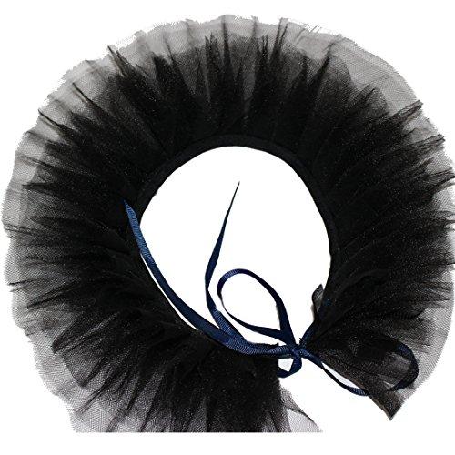 MAYSONG Elizabethan Black Mesh Gothic Ruffle Collar Clown Neck Collar