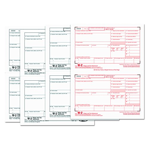 TOPS 22990 W-2 Tax Forms, 4-Part, 5 1/2 x 8 1/2, Inkjet/Laser, 50 W-2s & 1 W-3