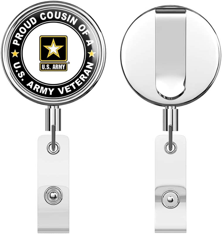 Army Veteran Proud Cousin Round ID Badge Key Card Tag Holder Badge Retractable Reel Badge Holder with Belt Clip U.S