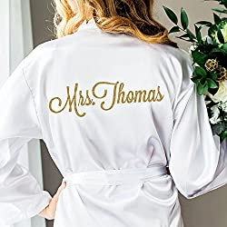 Wedding Robe for Bride Bridesmaids, Bridal Party Robes, Gift for Bride to Be, Personalized Name and Monogram Options Glitter Embellished Robe for Wedding
