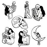 Black Coffin Forever Love Skeleton Girl Enamel Metal Pin Set, Punk Couple Gothic Brooch Pins