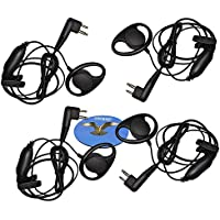 HQRP 4-Pack D Shape Earpiece Headset PTT Mic for Bearcom Radio Devices BC10 / BC20 / BC90 / BC95 / BC120 / BC130 / Black Box / Black Box Plus + HQRP Coaster