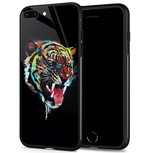 (iPhone 8 Plus Case,9H Tempered Glass iPhone 7 Plus Cases for Men Boys,Cute Colorful Tiger Pattern Design Printing Shockproof Anti-Scratch Case for Apple iPhone 7/8 Plus 5.5 inch Color Tiger)