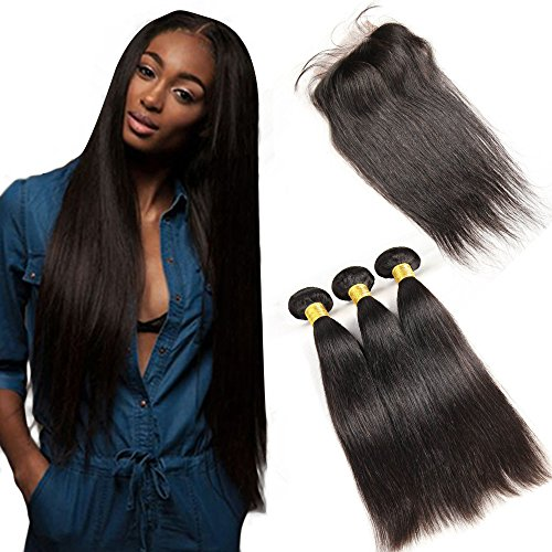 LMHair 3 Bundles Virgin Hair Totally 300G 8A Unprocessed Brazilian Straight Hair Extensions Natural Black with Free Part Lace Frontal Closure