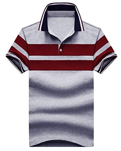 [ファンノシ]Fanessy ポロシャツ メンズ半袖 ストライプ お洒落な重ね着スタイル 涼しい 通気性 速乾性 薄手 吸汗 夏 polo カジュアル スポーツウェア ゴルフウェア シンプル 人気 ファッション カッコイイ メンズTシャツ M-4XL