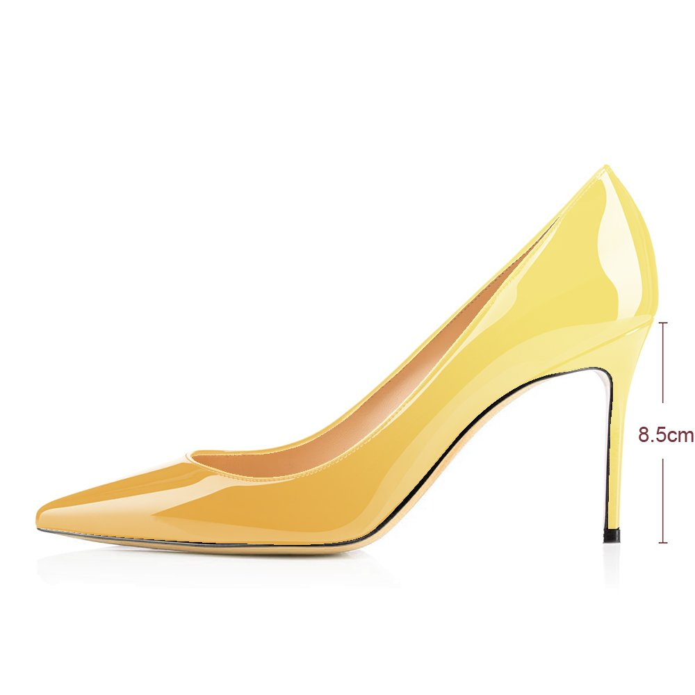 Modemoven Women's Yellow Pointed Toe Pumps Slip-on Office Business High Heels Sexy Stiletto Shoes 10 M US by Modemoven (Image #4)