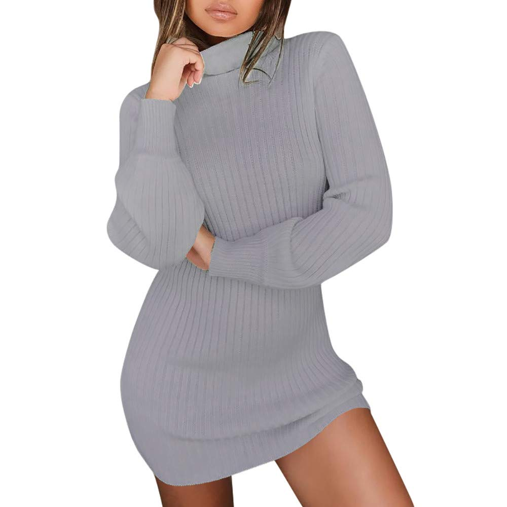 Sale Clearance! ShenPr Womens Turtleneck Knit Rib Stretchable Elasticity Long Sleeve Slim Fit Sweater Dress