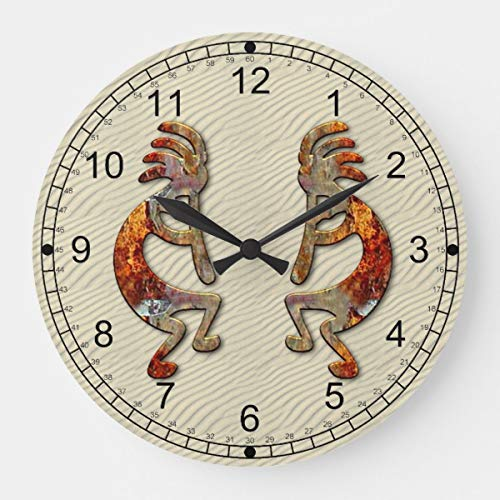 PotteLove Kokopelli Southwestern Wooden Decorative Round Wall Clock Design ()