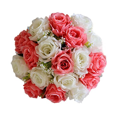 Transer 18Head Artificial Silk Roses Flowers Bridal Bouquet Rose Home Wedding Decor (C, Multicolor)