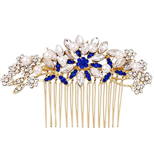 Fairy Moda Floral Crystal Bridal Hair Accessories Gold Hair Comb with Simulated Pearls