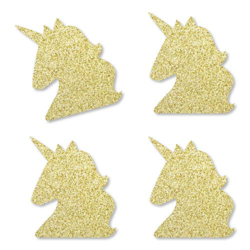 Gold Glitter Unicorn - No-Mess Real Gold Glitter Cut-Outs - Magical Unicorn Baby Shower or Birthday Party Confetti - Set of 24]()